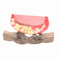 Hand Lacquer Hair Care Styling Tools Natural Boxwood Wooden Comb Hairbrush With Superior Velvet Pouch Gift
