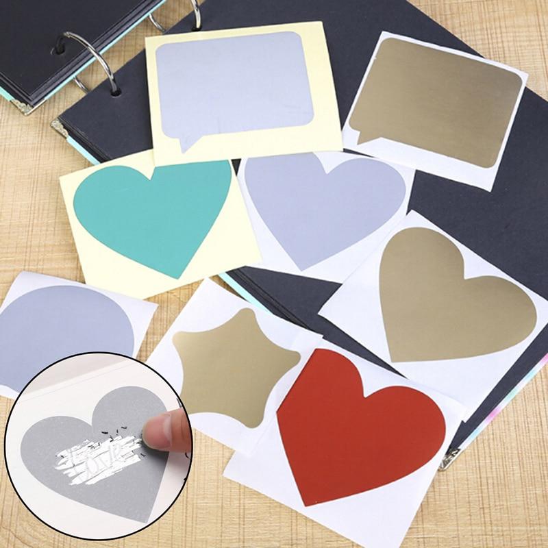 Vintage DIY Valentine's Day Postcards Coating Scratch Cards Message Hidden Surprises Scratch Sticker Postcards Set Drawing Toy