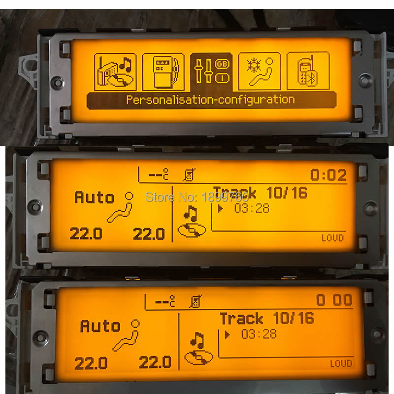 Genuine Screen support USB Bluetooth Display yellow monitor 12pin air condition for Peugeot 307 308 407