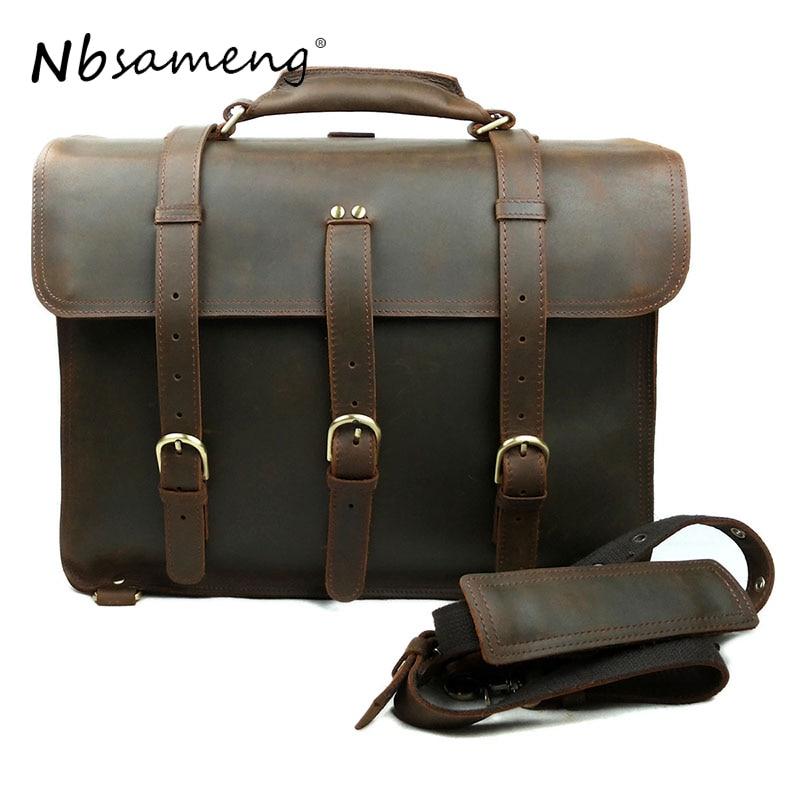 NBSAMENG Vintage Crazy Horse Leather Men Travel Bags Luggage Bag Genuine Leather Travel Backpack Large Men Duffle Bag
