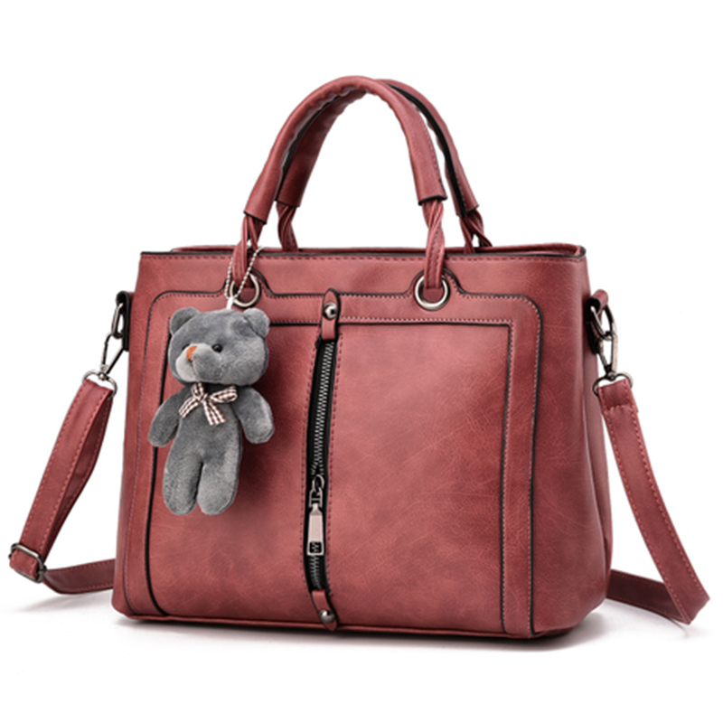 PONGWEE 2016 Women High quality PU Bag Luxury Red Retro Vintage Bag Designer Handbags Cute Bear Famous Brand Tote Shoulder Ladie