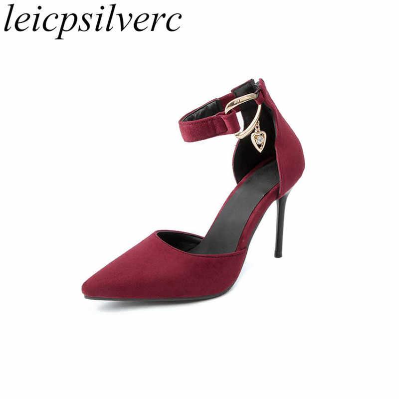 Для женщин Туфли-лодочки на очень высоком каблуке из флока острый носок  Кристалл молнии 2018 671e5207217