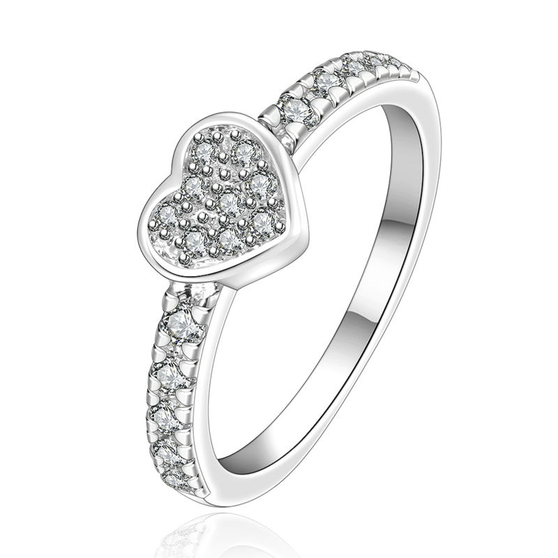 Luxury and Fancy Silver Love Heart Micro Multi Cubic Zircon Carter Rings For Women Wedding Engagement Anillos CZ Jewelry Bijoux
