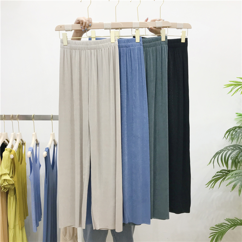 New Fashion Summer Ice Silk Knit Wide Leg Pants Female High Waist Slim Solid Loose Straight Pants Mopping Pants Trousers Femme
