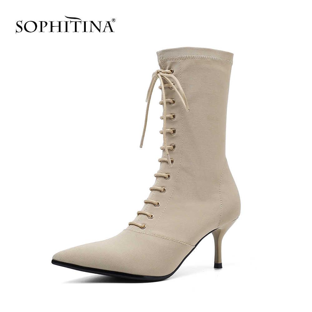 SOPHITINA yeni seksi sivri burun bayan botları ilkbahar sonbahar dar bant yüksek topuk ayakkabı rahat dış ince topuk kadın botları MO210