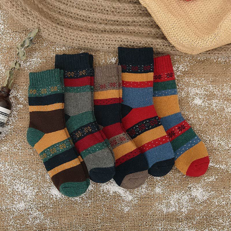 5 Pairs Fashion New Winter Thermal Cashmere Socks Women Warm Rabbit Wool Socks Women's Thicken Socks Girl Casual Socks