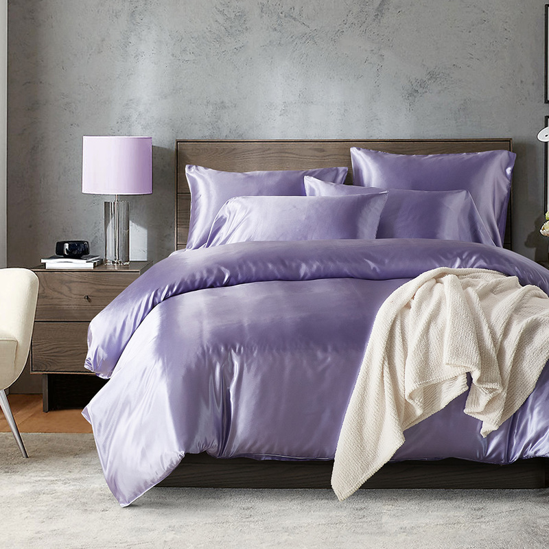 NarwalDate Simulation Silk Bedding Sets Double Twin King Queen Size Purple Adult Bed Set Smooth Pillowcase New Products