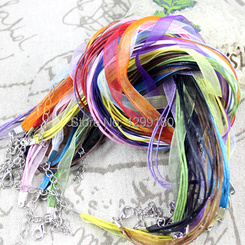 20pcs/lot 17-19 Inch Adjustable Assorted Colors Organza Ribbon Necklace Cord with Lobster Clasp For DIY Jewelry Making (K00610)