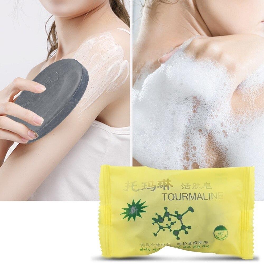 50g Tourmaline Black Soap Bamboo Charcoal Soap Jabon Savon Travel Shampoo Traditional Charcoal Active Face Natural Acne Soap