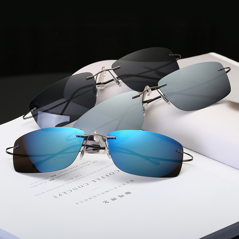 Rimless Polarized Light Sunglasses Men Super Lighted Weight Titanium Arms Sunwear Black Blue Polarize Women Brand Designer,80