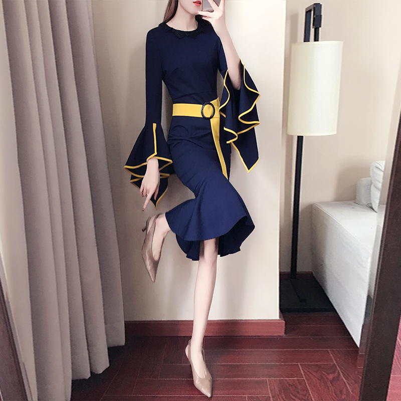 Dresses Female Spring and Autumn 2019 New French Retro Long Famous Design Sensory Fishtail
