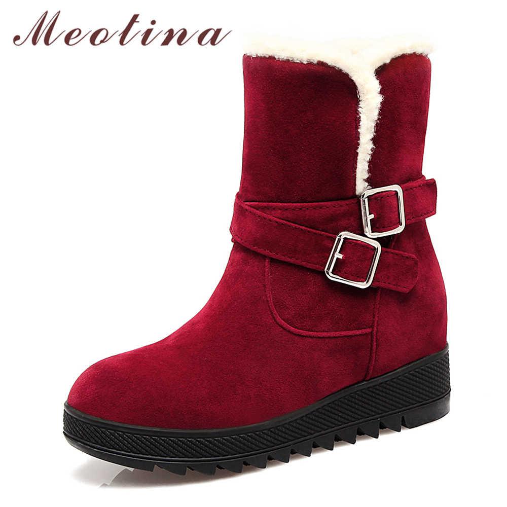Meotina Kar Botları Kadın Kış Platformu Kama Orta Buzağı Çizmeler Peluş Sıcak Toka Bayanlar Çizmeler Kırmızı Siyah Boyutu 40 43