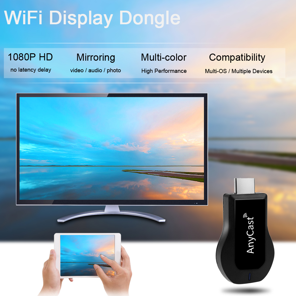 AnyCast New Wireless WiFi Display Dongle Receiver 1080PTV Stick anycast m2 plus hdmi wifi display PK Chromecast For Android iOS