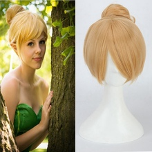 High Quality Princess Tinker Bell Cosplay Wig Short Straight Blond Heat Resistant Synthetic Hair Bun for Women Costume Party цена 2017
