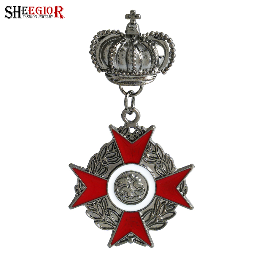 SHEEGIOR Vintage British Style Mens brossok a nőknek Lovely Gun Black Cross Crown Badge Broch Lapel Pins Fashion Jewelry Ajándék