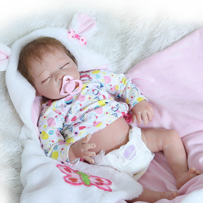 22 Inch Lifelike Princess Girl Reborn Doll Realistic Silicone Real Touch Newborn Babies Toy With Clothes Kids Birthday Xmas Gift pink romper 20 inch reborn babies girl lifelike silicone newborn dolls realistic doll toy with blue eyes kids birthday xmas gift