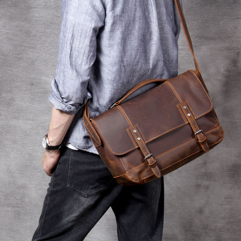 AETOO Retro head cowhide Postman bag handmade leather handheld man shoulder crossbody bag
