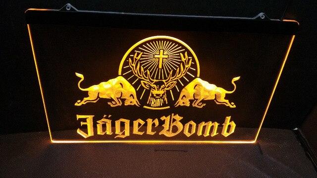 B-271 Jagermeister Jager bomba Deer head bar pub birrerie club 3d segni LED Luce Al Neon Segno arredamento d'epoca