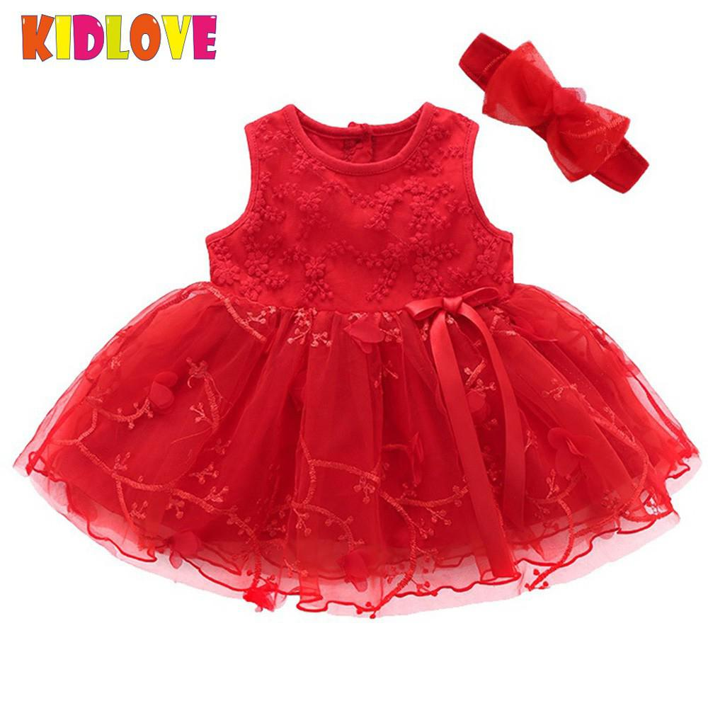 KIDLOVE Girl Newborn Baby Dress Sleeveless Net Yarn Bowknot Dress Elegant Round Collar Princess Dress+Headband wedding Dress
