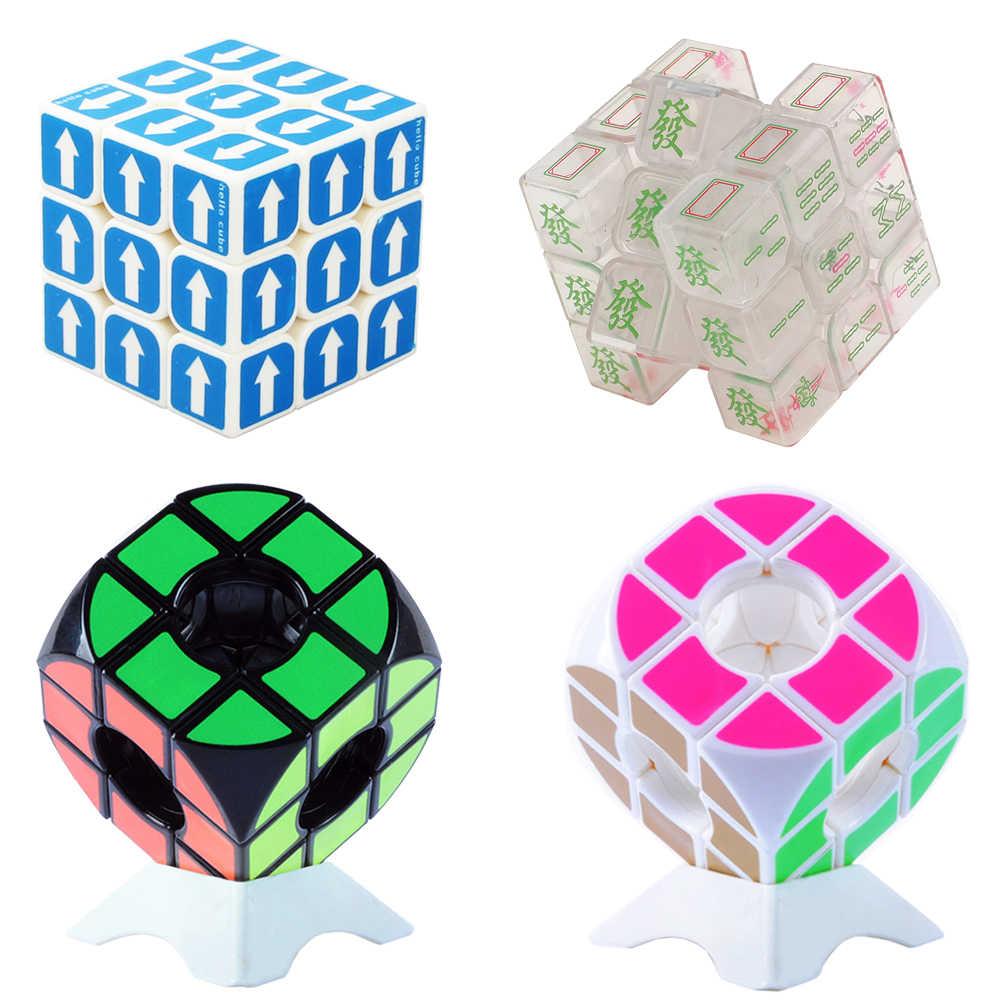 3*3*3 волшебный куб головоломка игрушка для детей скоростной куб 3x3x3 на 3 зеркальный куб и держатель Qiyi speed Cubs Megico брелок