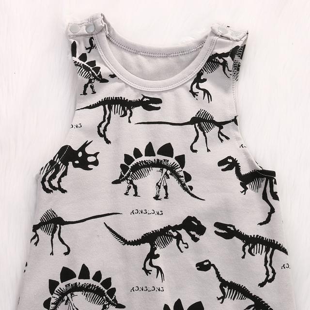 Sleeveless Dinosaur Printed Romper
