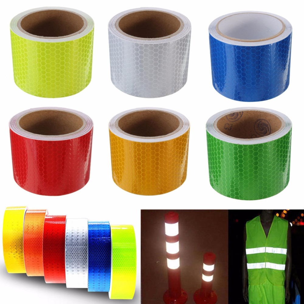 1pc Safety Caution Reflective Tape Warning Tape Self Adhesive Sticker Tapes 5x100cm 6 Colors For Car Styling Decorations 10m super strong waterproof self adhesive double sided foam tape for car trim scotch