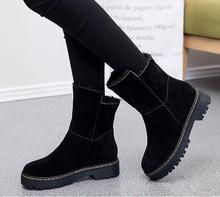 2017 модные Женские зимние ботинки для девочек Теплые Нескользящие зимние сапоги Пояса из натуральной кожи после Bundle Уличная обувь размер 35-43