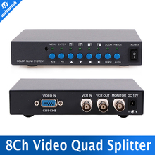 8 Channel Digital Color Quad System Video Processor Splitter BNC Switcher for Security System