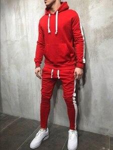 Image 2 - ZOGAA 2 pièces Définit Survêtement Hommes 2019 Automne Hiver Sweat À Capuche + Pantalon Cordon Mâle Coton Solide Hoodies Doux Streetwear
