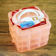 3 слоя отделения пластиковая коробка для хранения ювелирных изделий из бисера контейнер ремесло Органайзер