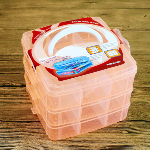3 Layer Compartments Plastic Box Jewelry Bead Storage Container Craft Organizer