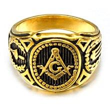 HIP Punk Vintage Masonic Rings Cool Gold/Silver Titanium Stainless Steel Free Mason Freemason Signet Rings for Men Jewelry
