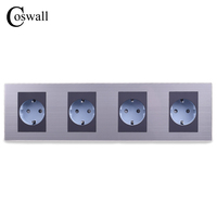 16A EU Standard Quadruple Oulet Luxury Wall 4 Way Power Socket Enchufe Stainless Steel Panel Electrical
