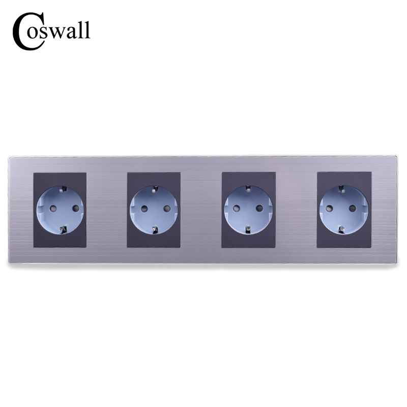 COSWALL 16A EU Standard Quadruple Outlet Luxury Wall 4 Way Power Socket Stainless Steel Panel Electrical Plug AC 110~250V atlantic brand double tel socket luxury wall telephone outlet acrylic crystal mirror panel electrical jack