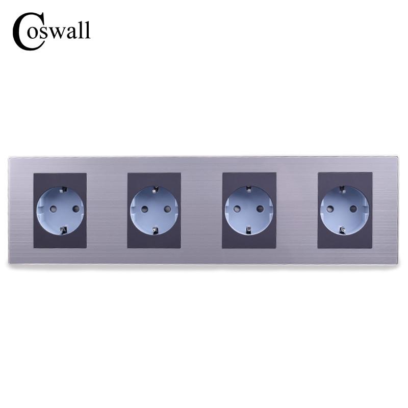 COSWALL 16A EU Standard Vierbett Outlet Luxus Wand 4 Weg Steckdose Edelstahl Panel Elektrische Stecker AC 110 ~ 250 v