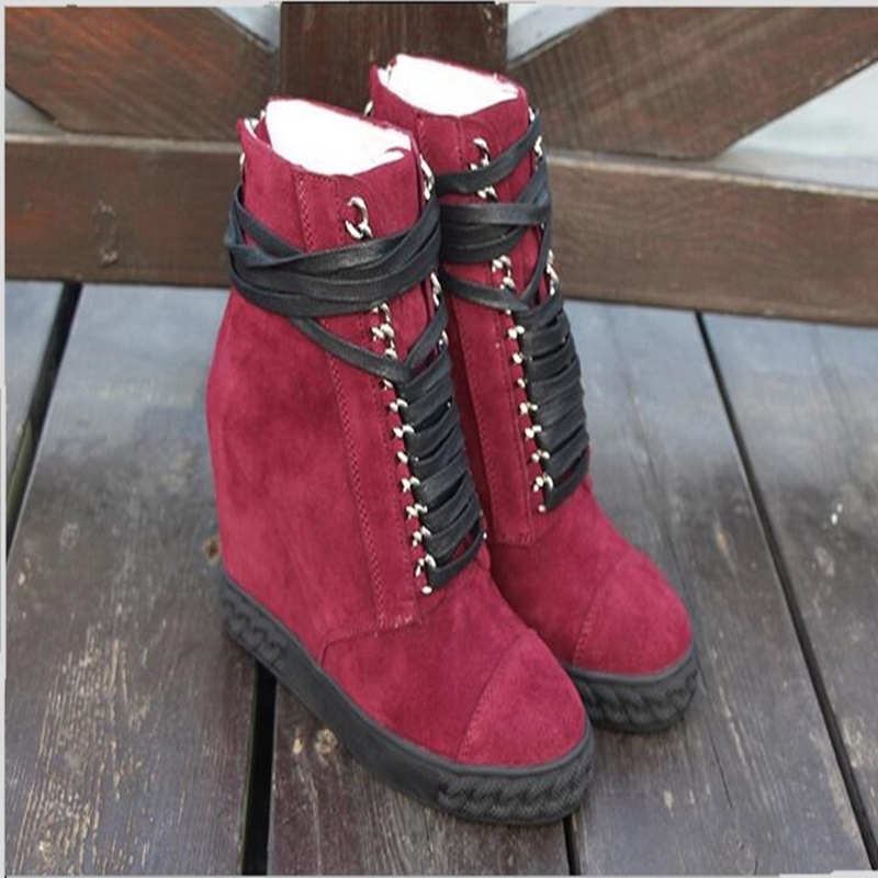 2018 hot selling black red blue suede gold chain winter woman shoes height increasing lace-up casual woman boots high quality цена