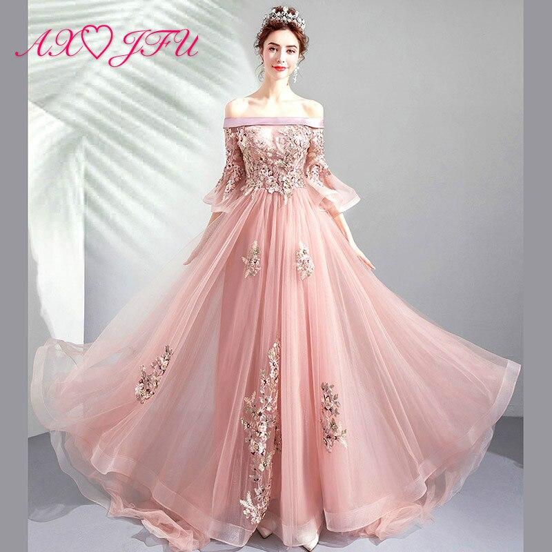 AXJFU flower pink lace   evening     dress   vintage bride boat neck dinner beading crystal pink   evening     dress   8186