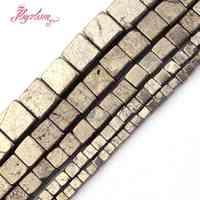 """Pirita Natural plata gris cuadrado cubo piedra cuentas para hacer joyería DIY regalo collar pulseras suelta 3/4/ 6/8/10mm hebra 15"""""""