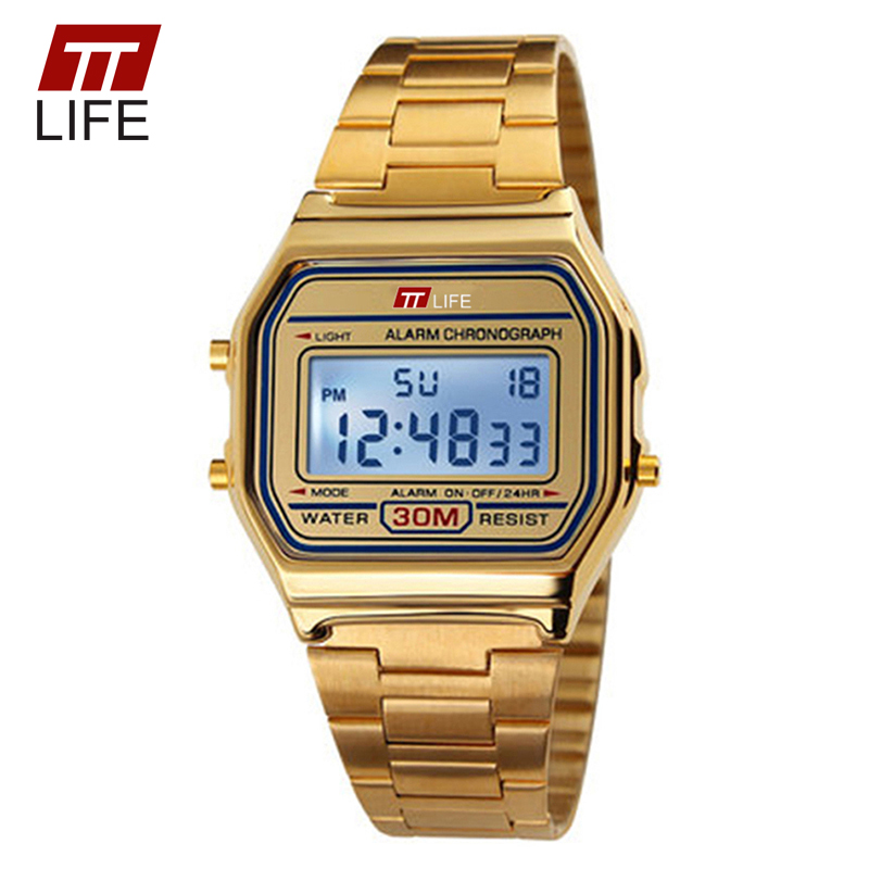 TTLIFE Digital LED Display Waterproof Gold Watch Women Auto Date Alarm Sport Fashion WristWatches Watch Men Relogio Masculino