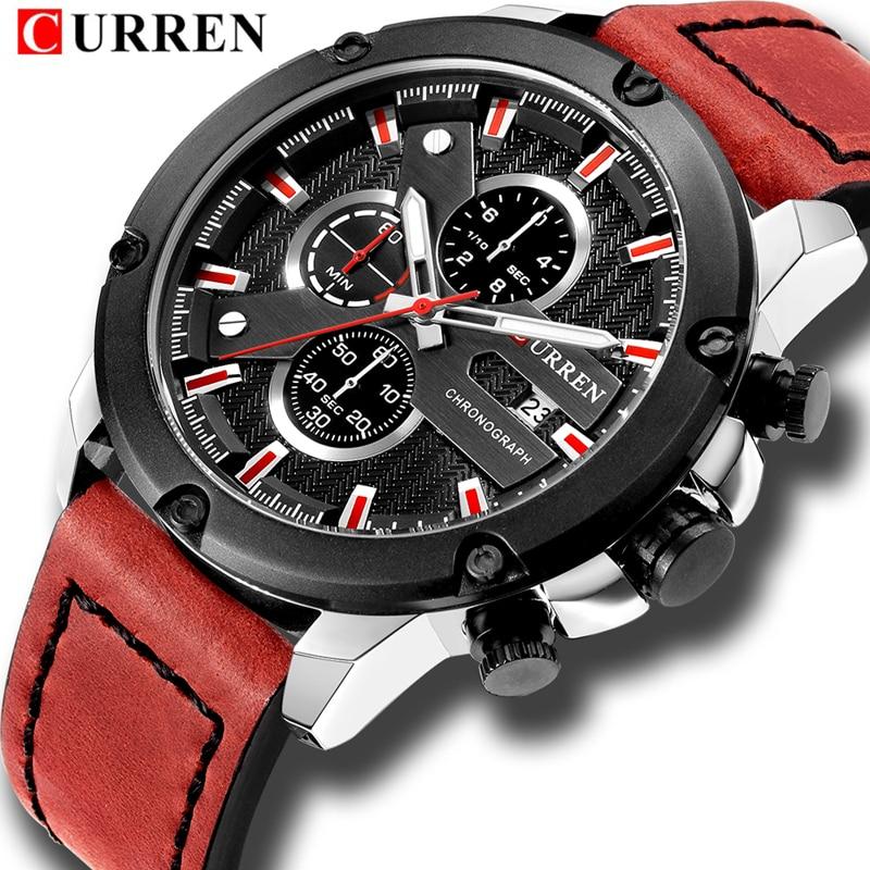 CURREN Luxury Brand Men Military Sports Watches Men's Quartz Date Male Clock Man Leather Waterproof Chronograph Wrist Watch цена