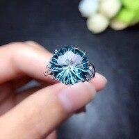 Природный Топаз Кольцо Бесплатная доставка палец кольцо естественный реальный голубой топаз кольцо стерлингового серебра 925 Роскошный сти