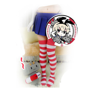 Image 4 - Nijigen Leuke Vrouwen Lolita Over Knie Brede Streep 100% Katoen Kousen Dij Hoge Anime Cosplay 10 Kleuren