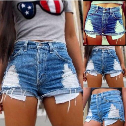 Fashion Women Ladies High Waisted Casual Hole Hot Mini   Shorts   Denim Slim   Short   Jeans