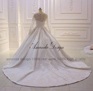 Image 4 - Amanda Design lazo para vestido de novia apliques perlas vestido de novia con manga larga