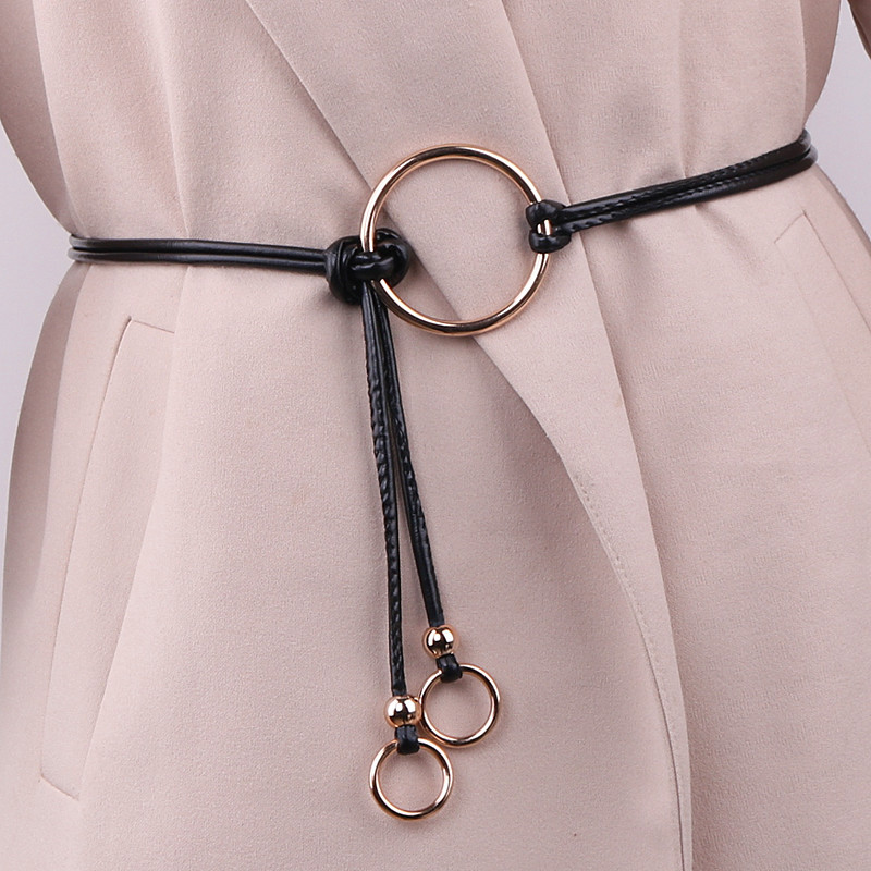 New Special Circle Ring Tassel Knot Double Circle Thin Belt Women's Dress Coat Decorative Belt High Quality Women Fashion 2019
