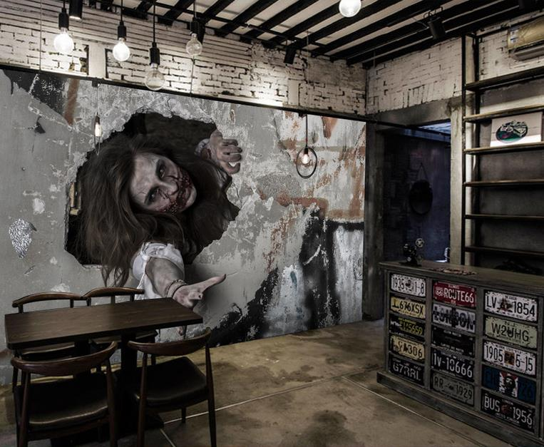 haunted horror kitchen walls living wallpapers customized stereoscopic