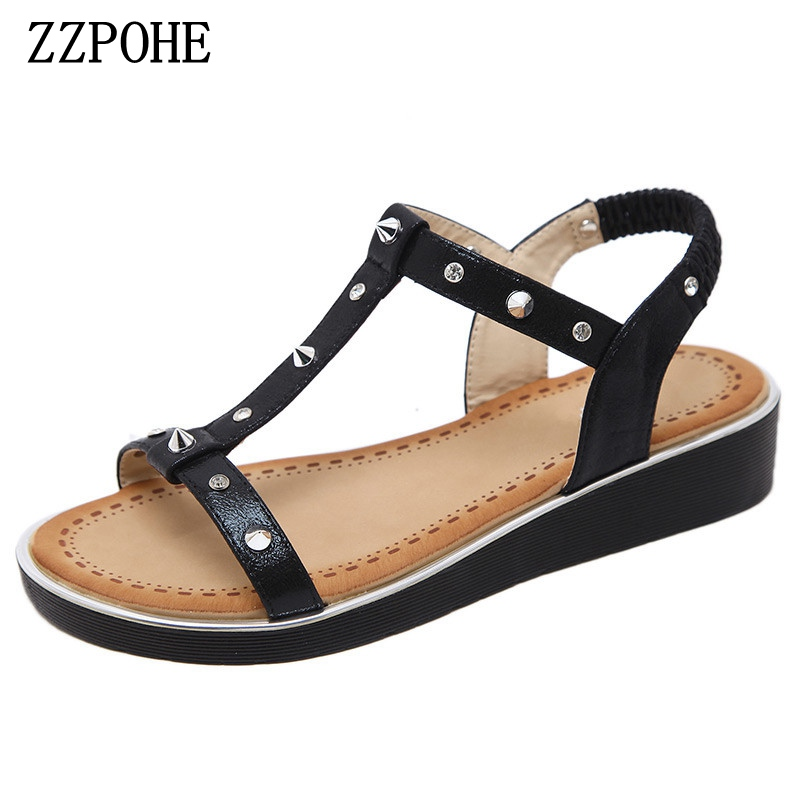 ZZPOHE Summer women flat sandals casual comfortable fashion women sandals crystal large size soft bottom sandals free shipping zzpohe 2018 summer shoes woman sandals women casual comfortable wedges platform sandals female soft leather plus size sandals