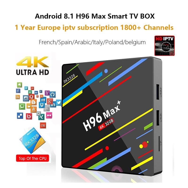 цена на Android 8.1 4GB+32GB H96 Max plus IPTV Box 1800 Channels IPTV French Poland Germany Arabic Portugal 4K media player Smart tv box
