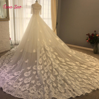 TaooZor New Design A Line Lace Wedding Dresses 2018 Vestido De Novia Strapless Half Sleeve Sexy