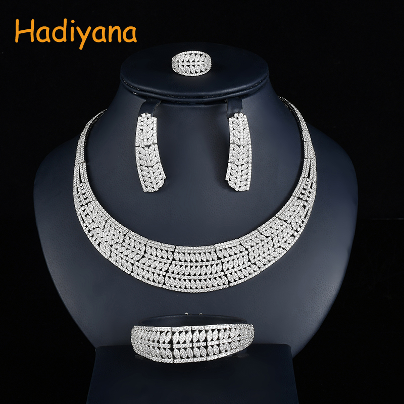 Hadiyana Luxury Leaf Design Zirconia Necklace Earring Bracelet Ring 4pc Sets Women Copper Jewelry sets For wedding Party CN737